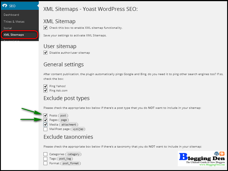 Create XML sitemap with WordPress SEO by Yoast plugin