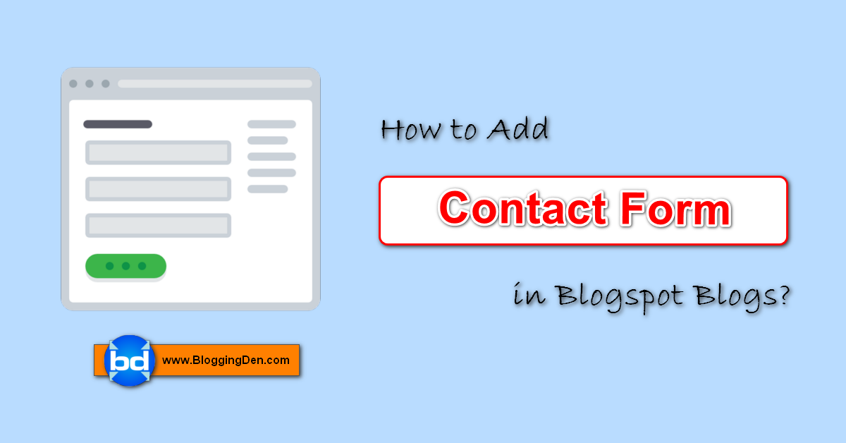 how to add contact forms in Blogspot blog