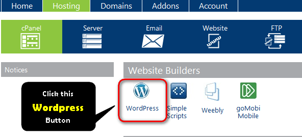 Click on WordPress icon on hosting cPanel