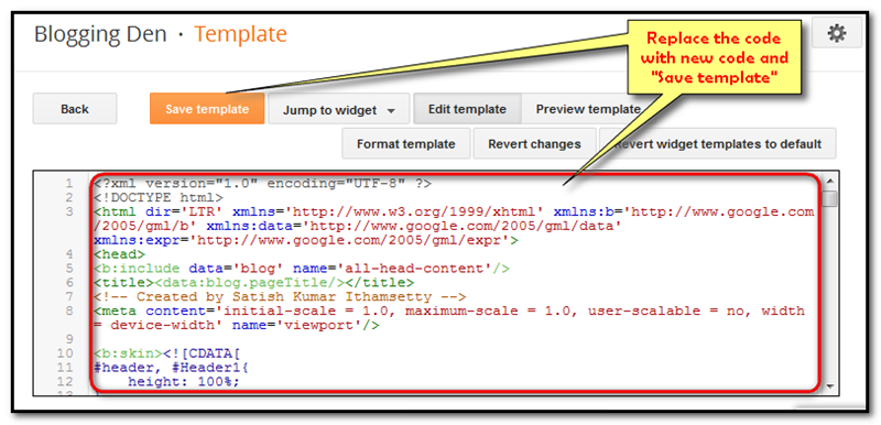 paste the blogger template modified code