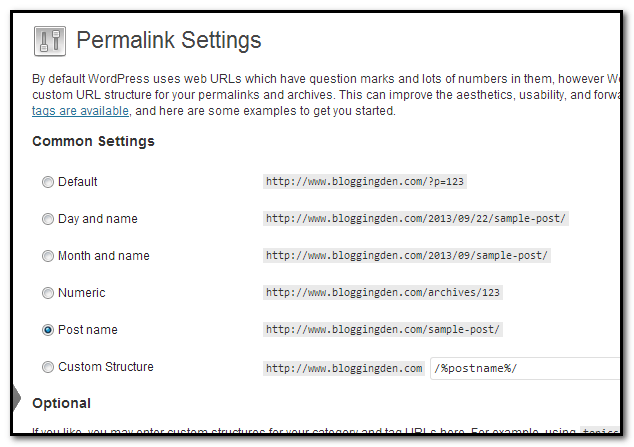 Permalink settings after wordpress installation