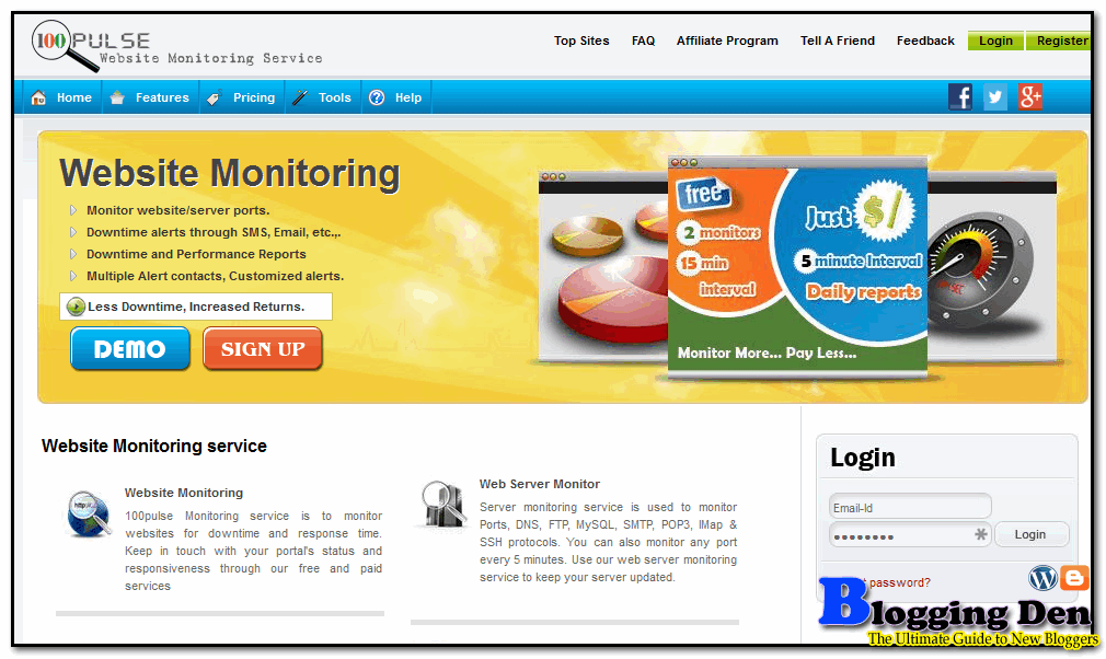100 Pulse website monitoring servies