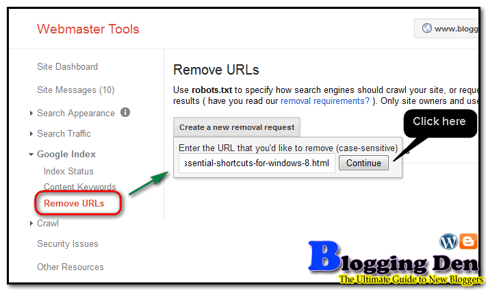 Remove Category and tags from webmaster tools
