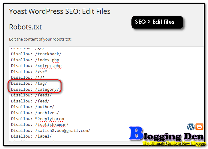 use Yoast SEO plugin's Robots.txt file