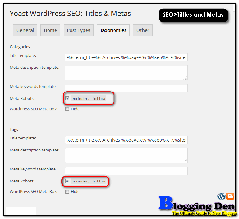 Put noindex in Yoast SEO plugin settings