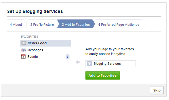 add to favorite your facebook page