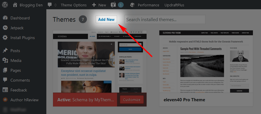 click on add new from themes
