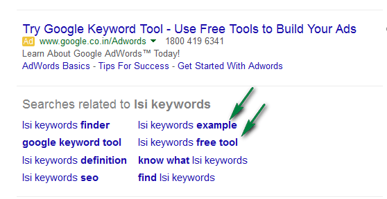 Search related terms - LSI keywords