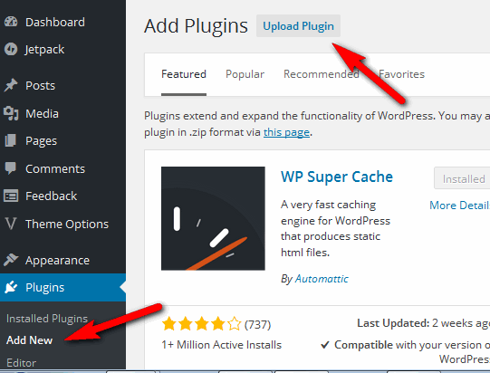 how to upload plugin from dashboard