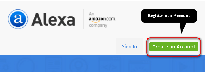 Register for new account in Alexa.com