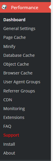 W3 total cache plugin left side menu