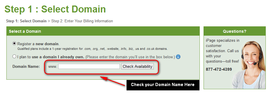 iPage hosting Choose Domain name