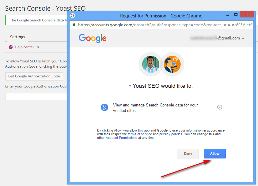 Allow the permission from Google search console