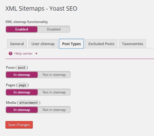 Post types in XML sitemaps