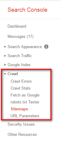 Sitemaps option in google search console