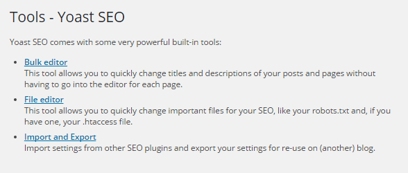 Tools in Yoast wordpress SEO plugin