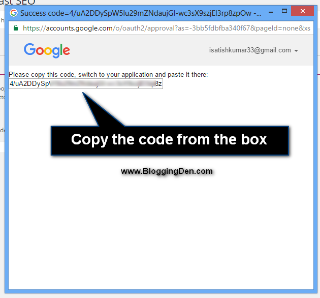 copy the authentication code