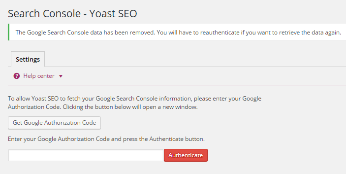 google search console authentication page