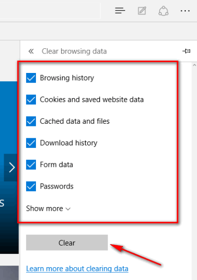 Clear browsing data in Internet Edge browser