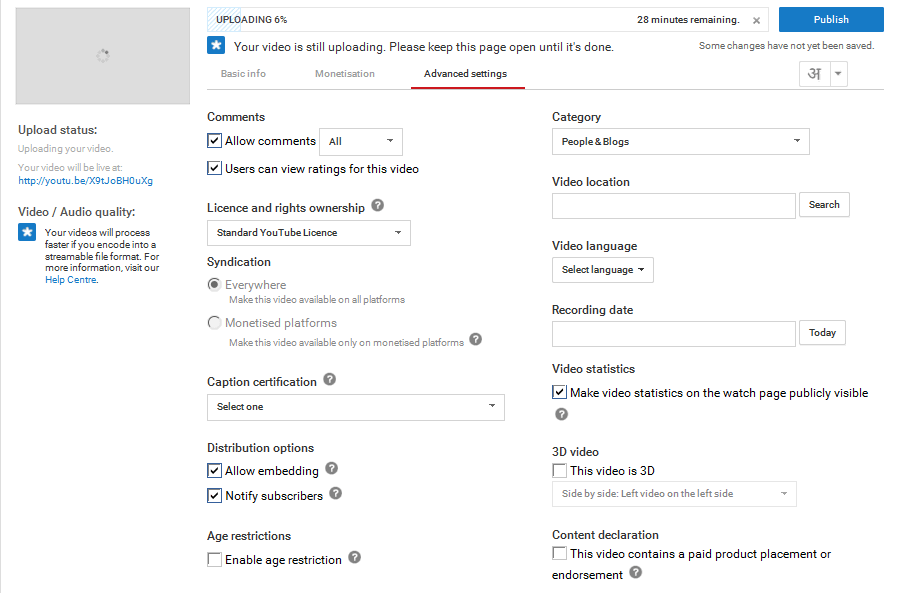 advanced settings in uploading