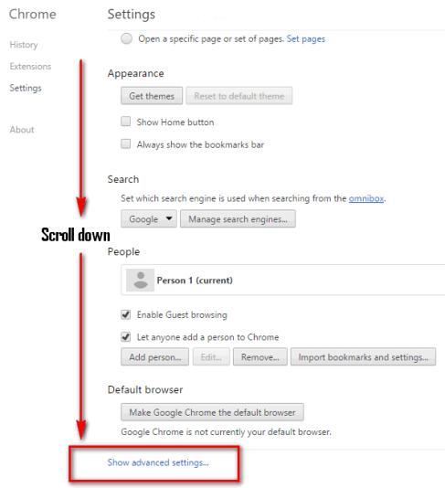 chrome settings show advanced settings