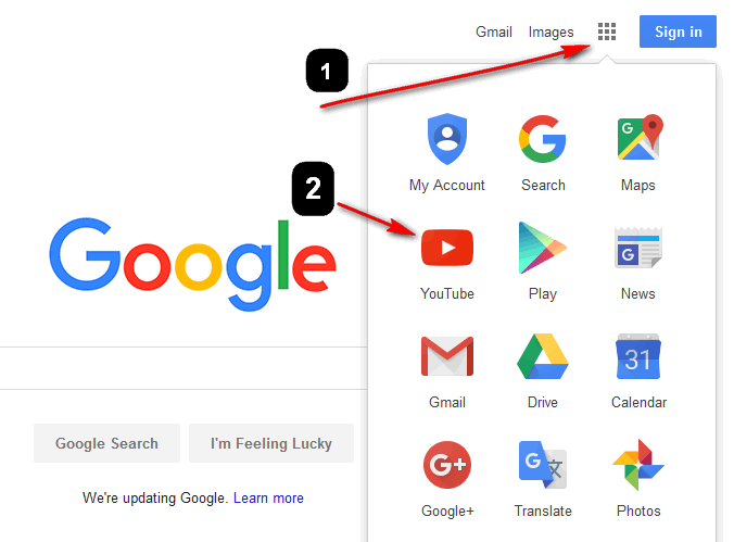 click on Google icon and Youtube icon - How to Create a YouTube account and Upload Video in HD and upload your first video in HD
