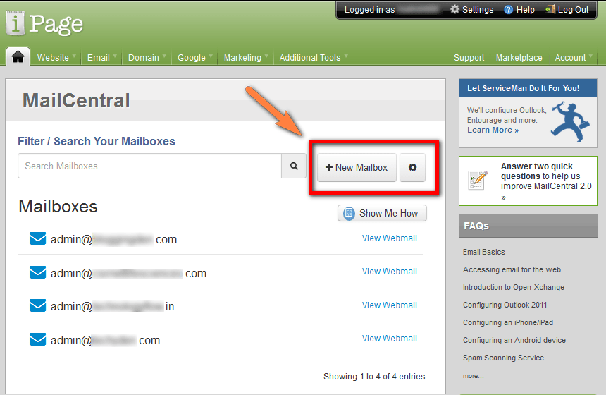 create new mailbox in ipage web hosting