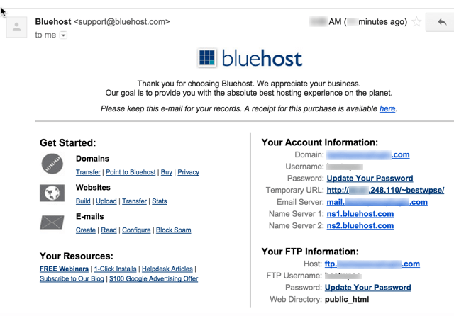 Bluehost registration completed