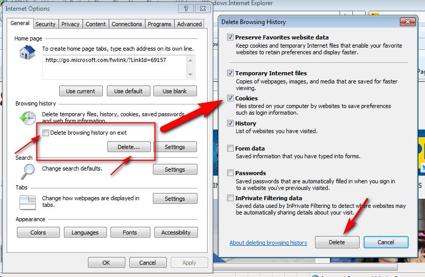 Clear cookies in Internet Explorer