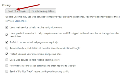 privacy and content settings in chrome