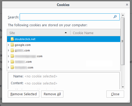 remove cookies in firefox