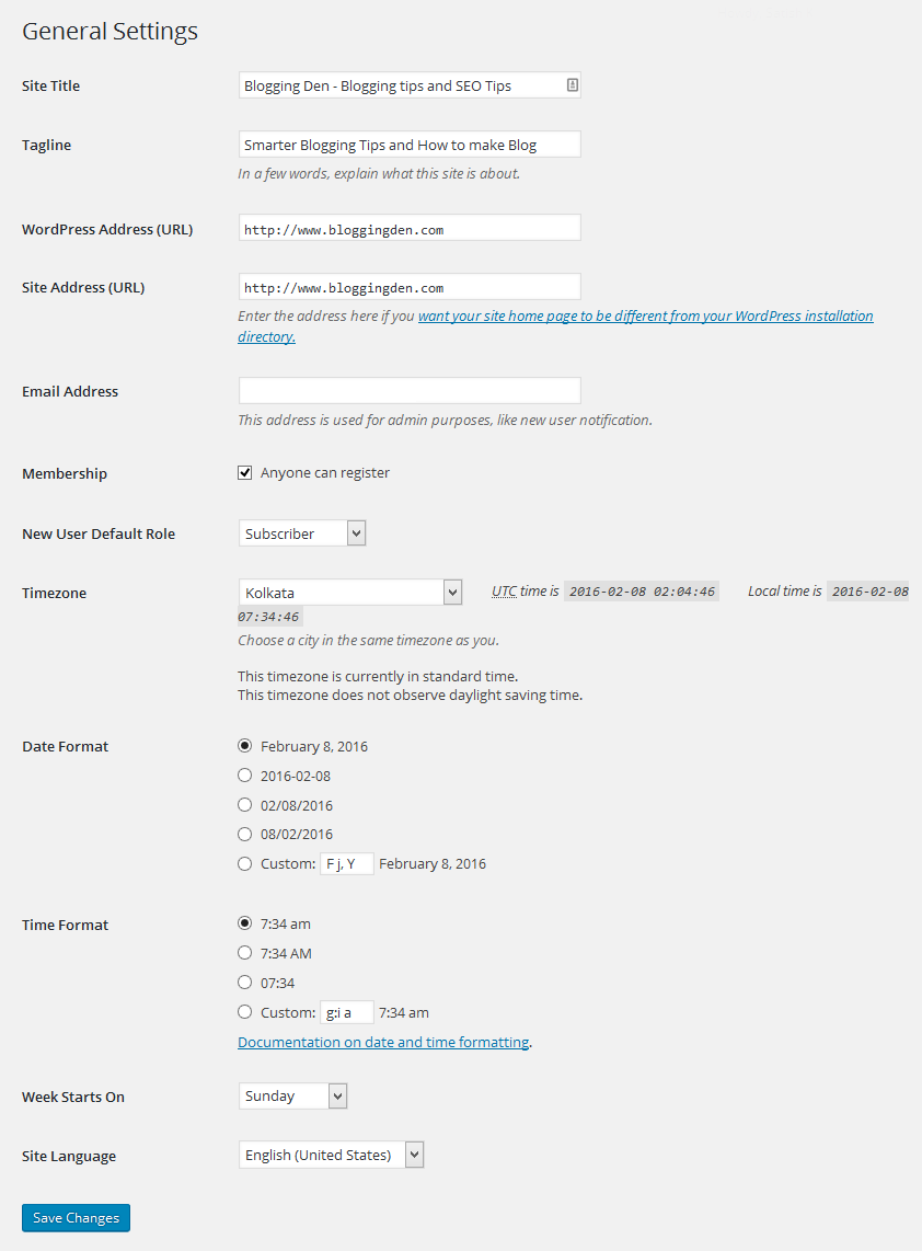 General settings in wordpress dashboard