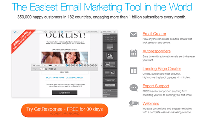 Getresponse Email Marketing Service provider