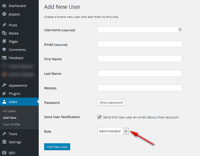change default admin role in setting up wordpress site