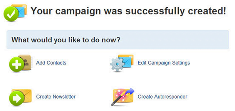 your campaign was successfully created