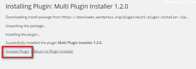 Activate Multi plugin installer plugin