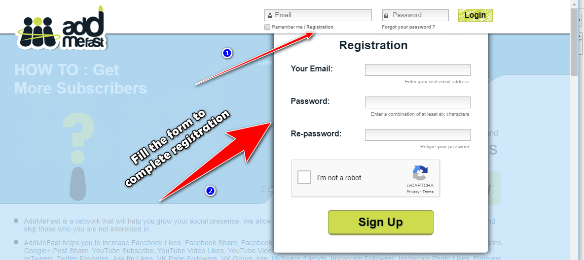 addmefast registration form