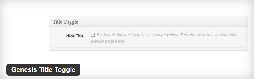 Genesis Title Toggle WordPress Plugin