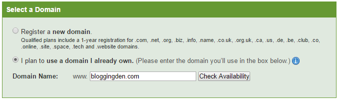 Select domain for registration