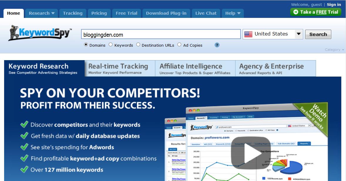 keywordspy homepage