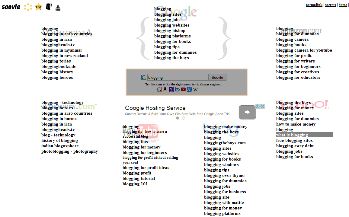 soovle results page