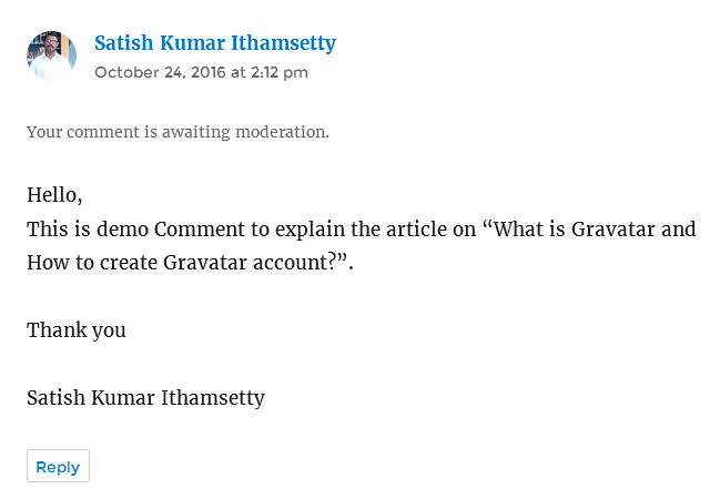 comment demo with gravatar email id preview
