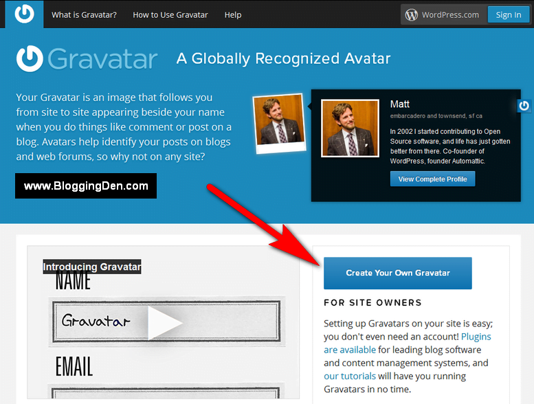 gravatar account create your own gravatar