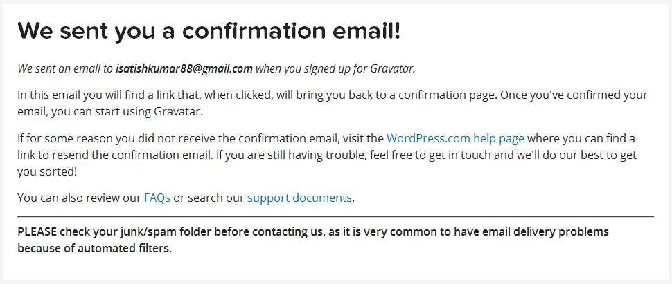 confirmation email