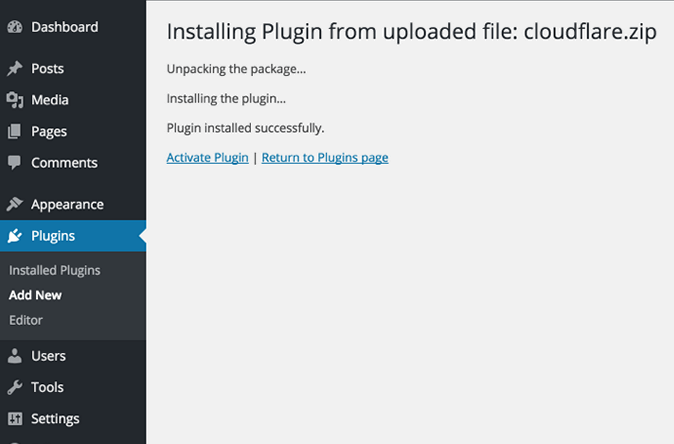 activate Cloudflare WordPress Plugin
