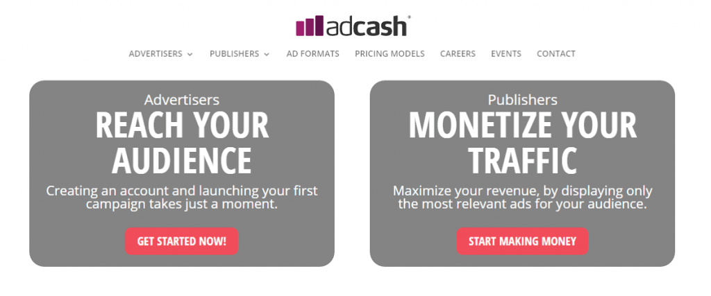 adcash review homepage