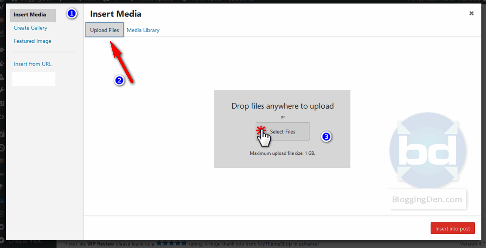 Add media file to upload