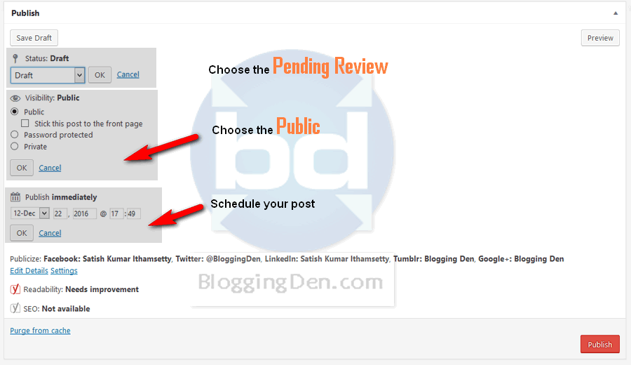 Features of Publish panel