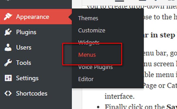 go for menu creation