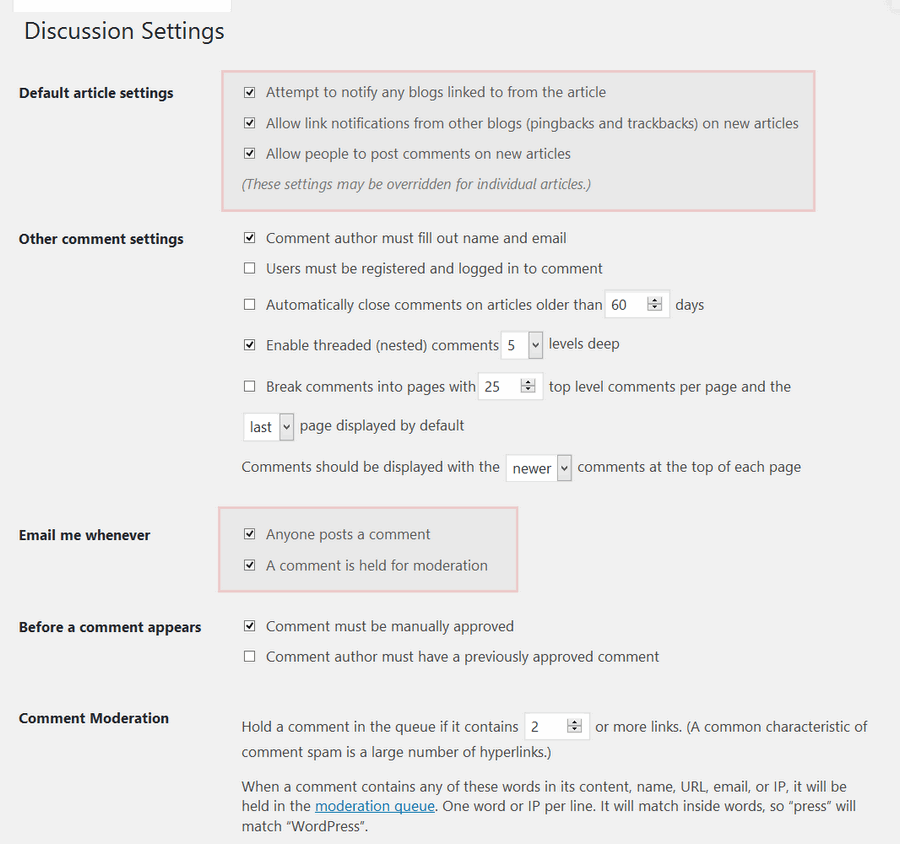 discussion settings page